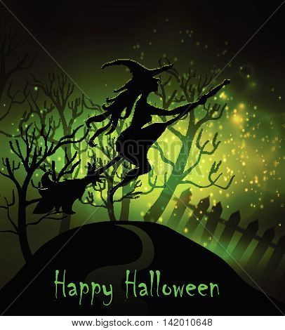 Happy Halloween Greeting Card. Elegant Design Fence, Moon, Tree and Witch Over Grunge Dark Starry Sky Background. Vector illustration.