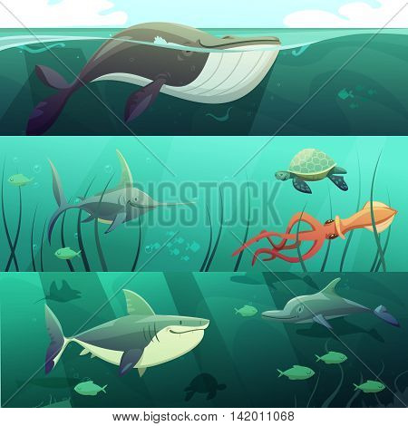 Underwater marine life retro cartoon horizontal banners set with giant shark fish dolphin turtles isolated vector illustration