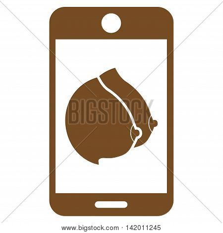 Mobile Erotic Tits vector icon. Style is flat symbol, brown color, rounded angles, white background.