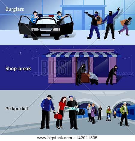 Horizontal armed burglars and criminals committing thefts in bank shop and metro flat banners isolated vector illustration