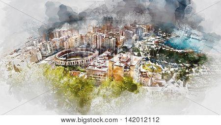 Panoramic view of Malaga bullring and harbor Spain. Digital watercolor painting