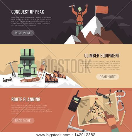 Color flat horizontal banner with title and text depicting conquest of peak climber equipment route planning vector illustartion