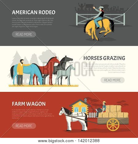 Information on horses breeds handling 3 horizontal banners webpage design with pasturing and grazing systems isolated vector illustration