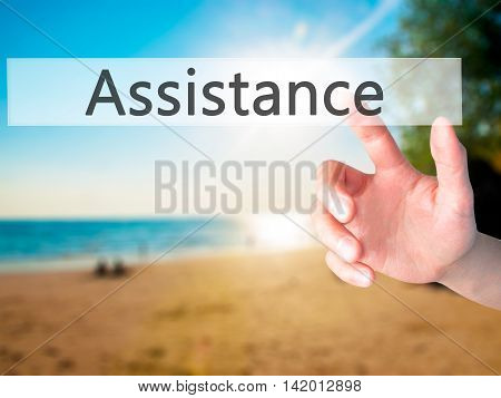Assistance - Hand Pressing A Button On Blurred Background Concept On Visual Screen.