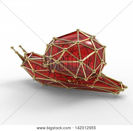 3D Render Of Shiny Luxury Crystal Sapphire Snail.with Edges Framed With Golden Wire