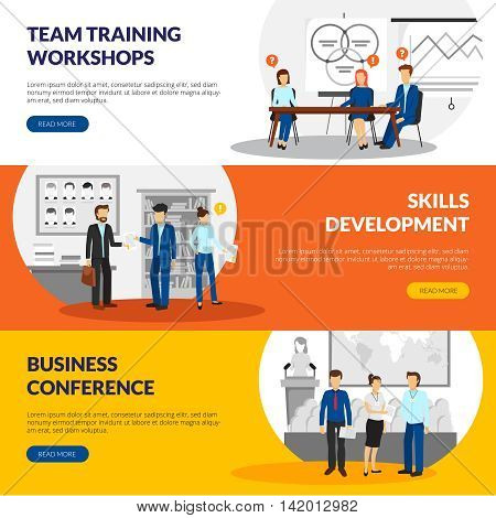 Business training consulting skill development workshops information 3 flat horizontal banners webpage design abstract isolated vector illustration