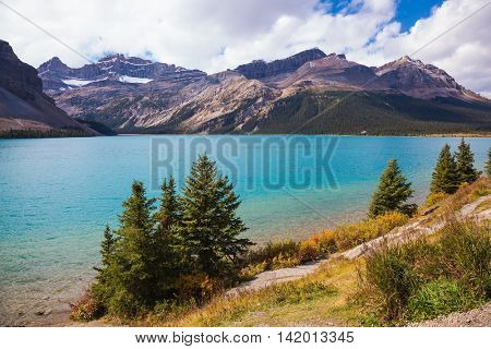 Gorgeous sunny day at Bow Lake, Canadian Rockies. The lake is surrounded by rocks and pine trees