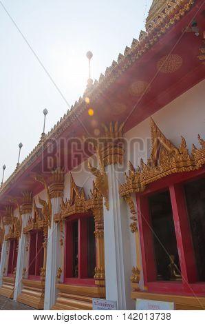 Ancient Golden carving at Wat Nong Wang thai temple at Khon kaen provine in thailand