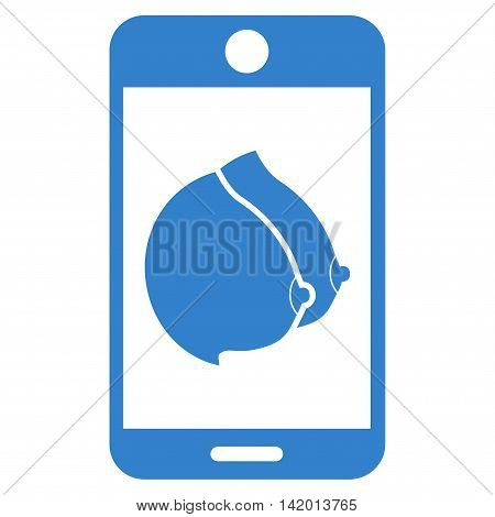Mobile Erotic Tits vector icon. Style is flat symbol, cobalt color, rounded angles, white background.