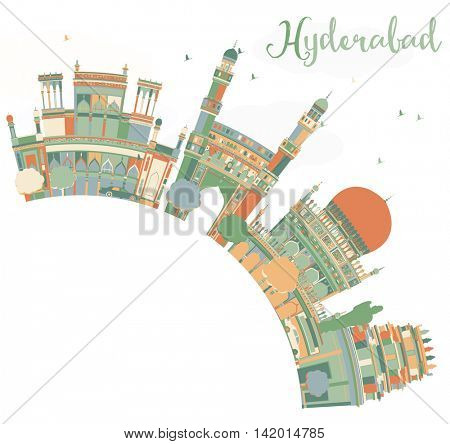 Abstract Hyderabad Skyline with Color Landmarks and Copy Space. Business Travel and Tourism Concept with Historic Buildings. Image for Presentation Banner Placard and Web Site.