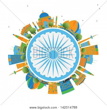 Happy Indian Republic Day Card. Concept with indian Landmarks and copy space.
