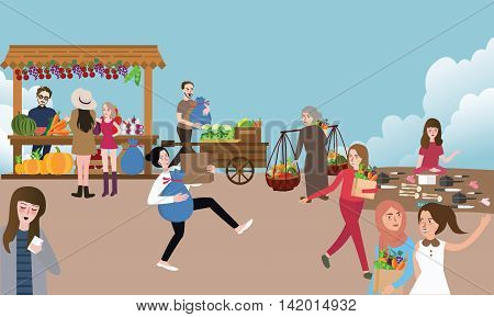 traditional open market activity busy people selling buying and bring stuff outdoor vector