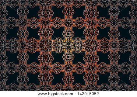 abstract seamless decor element of openwork embossed interlocking lines symmetrical shape bronze color on a dark background