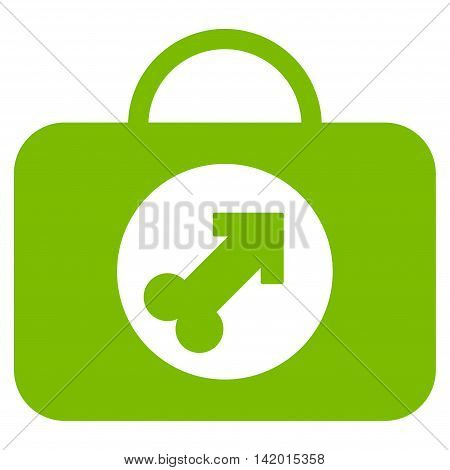 Male Erection Case vector icon. Style is flat symbol, eco green color, rounded angles, white background.