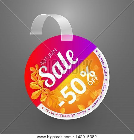 Wobbler design template. Autumn sale event. Vector illustration yellow alder and chestnut leaves.