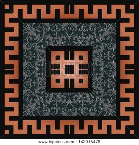 retro decor square frame in an art deco style with a floral design of gray color on a black background