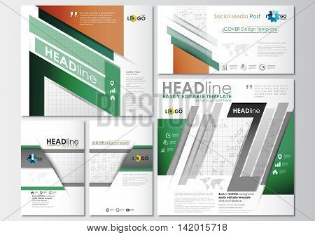 Social media posts set. Business templates. Cover design template, easy editable, abstract flat layouts in popular formats. Back to school background with letters made from halftone dots, vector illustration