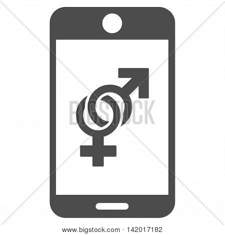 Mobile Dating vector icon. Style is flat symbol, gray color, rounded angles, white background.