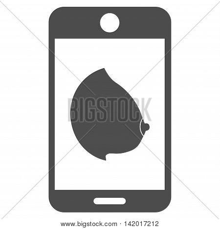 Mobile Erotic Tit vector icon. Style is flat symbol, gray color, rounded angles, white background.