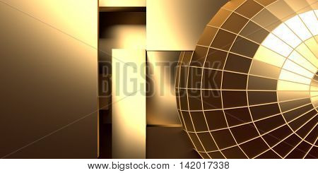 Gridded wireframe golden sphere on yellow background. metal lattice. 3d rendering.