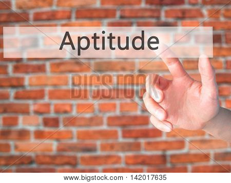 Aptitude - Hand Pressing A Button On Blurred Background Concept On Visual Screen.