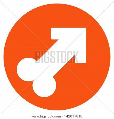 Erection vector icon. Style is flat symbol, orange color, rounded angles, white background.