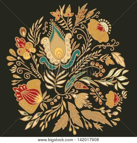 stock vector floral pattern for printing on paper fabric. Indian arabic russian or orient ornament
