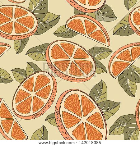 Vintage seamless pattern with orange fruits. Hand drawn old texture decorative oranges and leaves coloring book. Vector illustration.