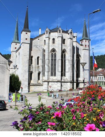 SAINTE CLAUDE, FRANCE, AUGUST 3 2016: The cathedral of Saint-Pierre-Saint-Paul-and-Saint-André in the town of Sainte Claude in Haut Jura , France. It is a popular tourist attraction.
