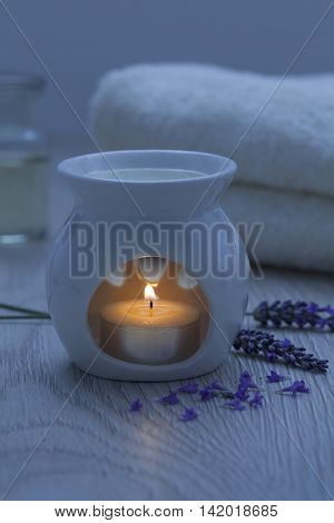 Candle for aroma therapy with lavender oil