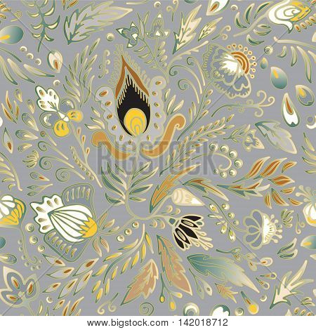 stock vector seamless floral pattern on grey for printing on paper fabric. Indian arabic russian or orient ornament