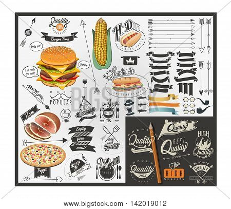 Retro vintage style fast food designs. Set of Calligraphic titles and symbols for foods. Hand lettering style calligraphy design. Retro vintage style typographic menu symbols and slogans.