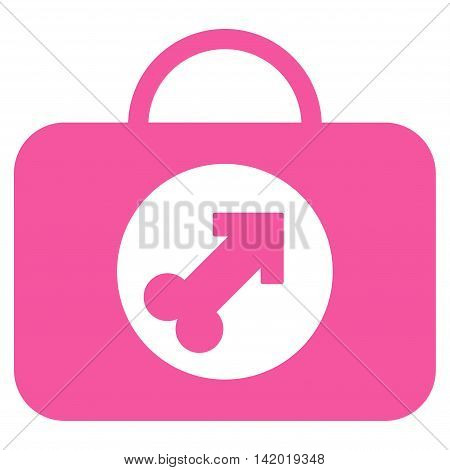 Male Erection Case vector icon. Style is flat symbol, pink color, rounded angles, white background.