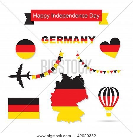 Germany flag decoration elements. Banners, labels, ribbons, icons, map and other templates for design Independence Day of Germany symbols