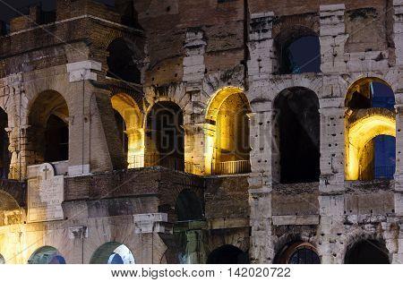 Colosseum Exterior Night View, Rome.
