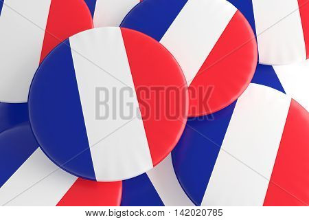 French Tricolor: Pile of France Flag Badges 3d illustration