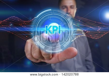 Business, Technology, Internet And Network Concept. Young Business Man Chooses The Virtual Screen: K