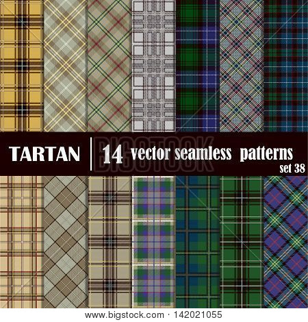 Set tartan seamless pattern in varicolored colors. Lumberjack flannel shirt inspired. Seamless tartan tiles. Trendy hipster style backgrounds.