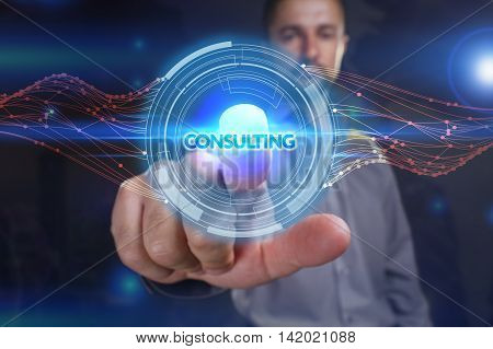 Business, Technology, Internet And Network Concept. Young Business Man Chooses The Virtual Screen: C