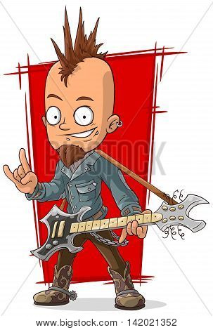 A vector illustration of cartoon cool punk rock musician with guitar