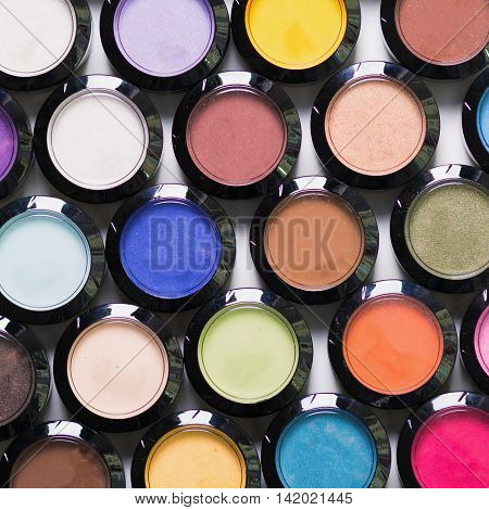 Make-up eye shadows. View from above. Flat lay.