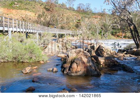 SWAN VALLEY,WA,AUSTRALIA: Tourist on the bridge at the Bell Rapids of the Swan and Avon River intersection with lush flora and rocky riverbed in the Swan Valley in Western Australia.