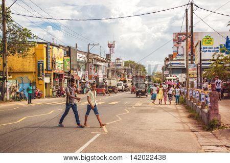 Aluthgama, Sri Lanka - December 28th 2015: Busy Street in Aluthgama on the West Coast of Sri Lanka near Beruwala.
