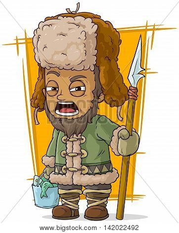 A vector illustration of cartoon drunk fisherman with basket and spear