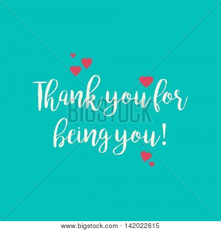 Blue teal Thank you for being you greeting card with pink hearts.
