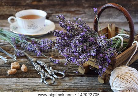 Аromatic lavender tea and bunch of lavender
