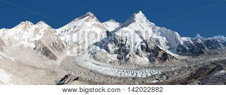 Beautiful view of mount Everest Lhotse and nuptse from Pumo Ri base camp - way to Everest base camp - Nepal