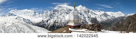 Panoramic view of Annapurna 2 II Annapurna 3 III Ganggapurna Khangsar Kang and Tilicho peak Annapurna range from Ice Lake way to Thorung La pass Annapurna circuit trek Nepal