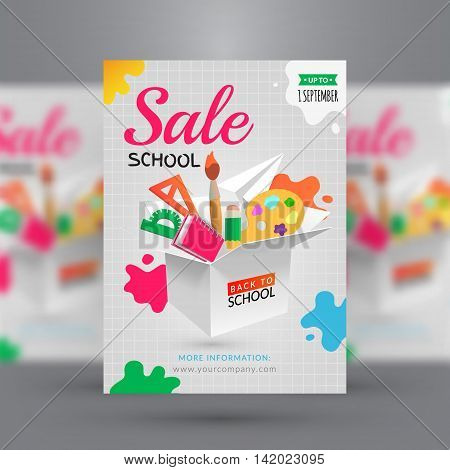 Back to school. Sale flyer template. Vector illustration with box of goods for school and splashes of paint.