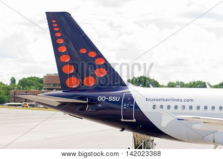 BERLIN, GERMANY - JUNE 22, 2016: Aircraft Airplane A319 of Brussels Airlines airline.